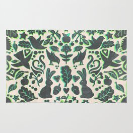 Two Rabbits - folk art pattern in grey, lime green & mint Rug