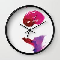 lips Wall Clocks featuring Lips by Andreas Lie