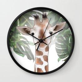 Giraffe in the trees. Wall Clock