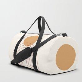 Mid Century Modern Geometric 36 in Terracotta Gold Beige Duffle Bag