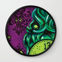 "haunted mansion Wall Clocks featuring Disneyland Haunted Mansion inspired ""Wall-To-Wall Creeps No.3""  by ArtisticAtrocities"