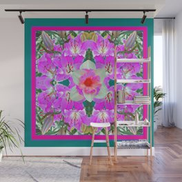 TEAL PINK SPRING LILY FLOWERS PURPLE GARDEN PATTERNS Wall Mural
