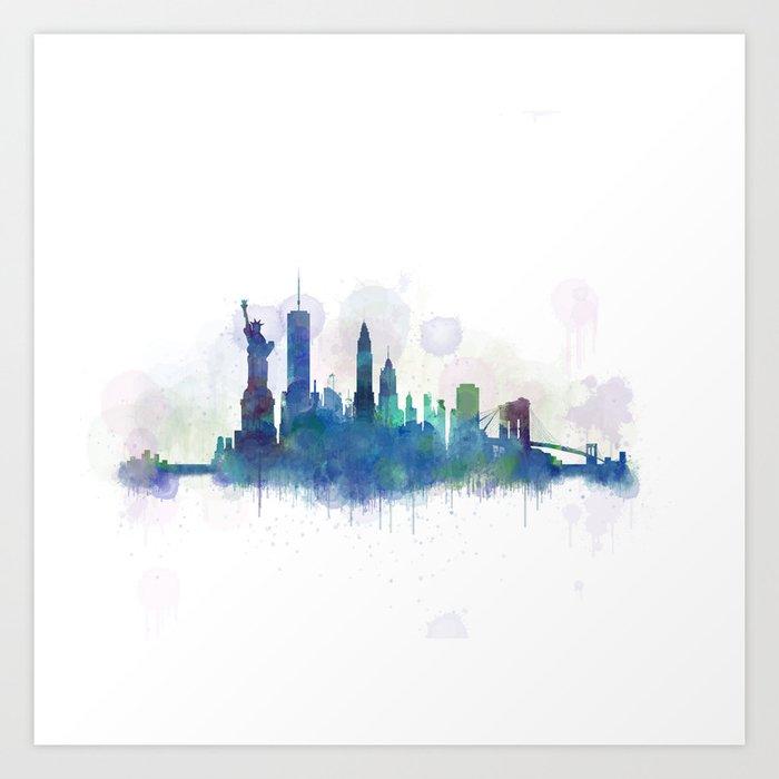 Ny New York City Skyline Art Print By Hqphoto Society6