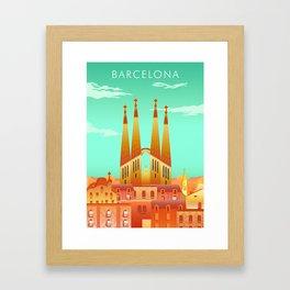 Barcelona Travel Poster Framed Art Print