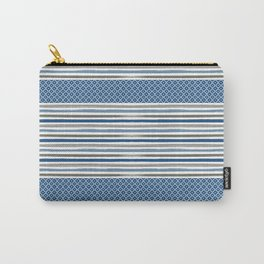 Modern Beachy Paint Brush Stripes in Blue and Putty Gray Carry-All Pouch