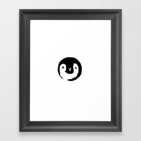 Baby Penguin Face Framed Art Print