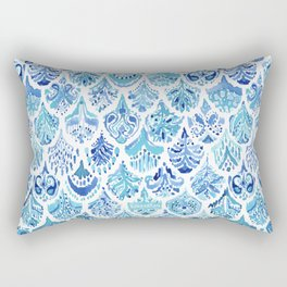 PAISLEY MERMAID Watercolor Scale Pattern Rectangular Pillow