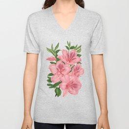 Vintage Victorian Pink Flowers on Black Unisex V-Neck