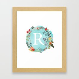 Personalized Monogram Initial Letter R Blue Watercolor Flower Wreath Artwork Framed Art Print
