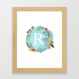 Personalized Monogram Initial Letter R Blue Watercolor Flower Wreath Artwork Framed Art Print