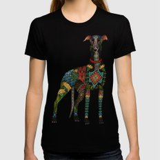 greyhound ivory X-LARGE Black Womens Fitted Tee