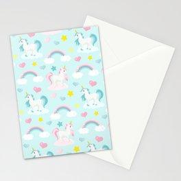Fabulous Unicorns – Pastel Pink Polka dots and Blue Stationery Cards