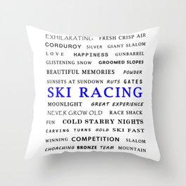 Ski Racing - Blue Throw Pillow