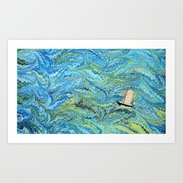 Small Boat on The High Seas Art Print