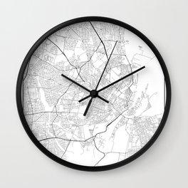 Minimal City Maps - Map Of Copenhagen, Denmark. Wall Clock