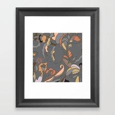 Color Blocking   Floral Shapes Framed Art Print