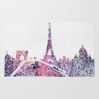 paris map Area & Throw Rugs featuring Paris Skyline + Map #1 by Map Map Maps