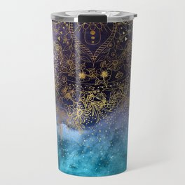 Gold floral mandala and confetti image Travel Mug