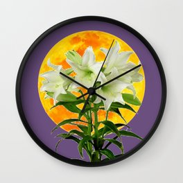 EASTER LILIES ON LILAC GOLDEN MOON ABSTRACT Wall Clock