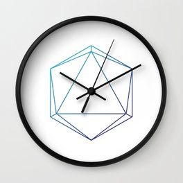 D20 Roleplaying Die Icosahedron Line-Art Blue/Purple Wall Clock