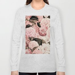 Vintage & Shabby Chic Pink Floral camellia flowers watercolor pattern Long Sleeve T-shirt