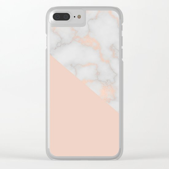 Rose gold marble and soft blush pink Clear iPhone Case