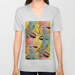 Sensual Female Portrait  Watercolor Unisex V-Neck