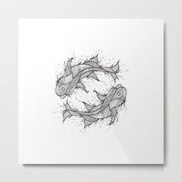 Zodiac Fish Circle Metal Print