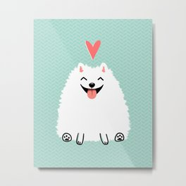 Fluffy White Pomeranian with Heart Metal Print