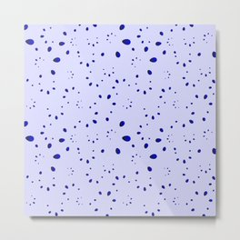 A lot of blue drops and petals on a cloudy background in nacre. Metal Print