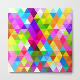 Bright Colorful Diamond Triangles Mosaic Pattern Metal Print