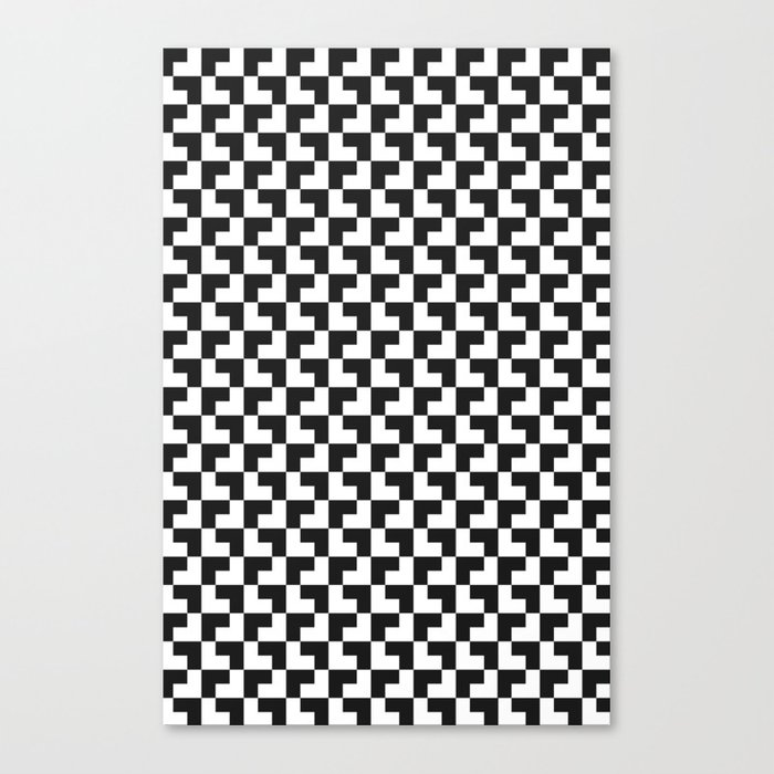 Black and White Tessellation Pattern - Graphic Design Canvas Print