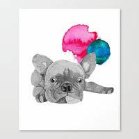 french bulldog Canvas Prints featuring French Bulldog  by Olivia James