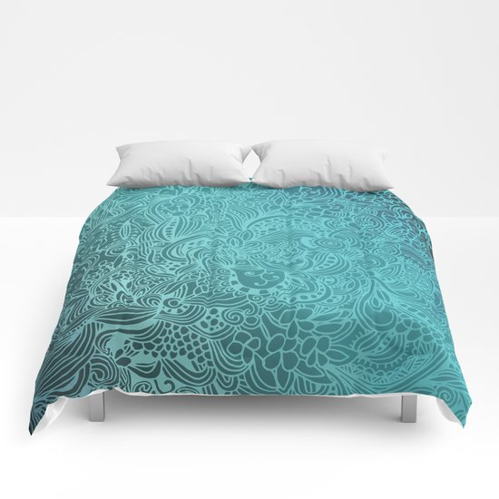 Detailed zentangle square, blue colorway Comforters