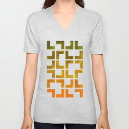 Geometric Pattern L Shaped Watercolor Painting Olive Green Yellow Ochre Colorful Pattern Art Unisex V-Neck