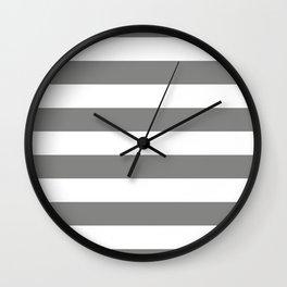Large Battleship Gray and White Horizontal Cabana Tent Stripes Wall Clock