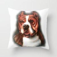 pitbull Throw Pillows featuring Pitbull Pride by Chris Furguson