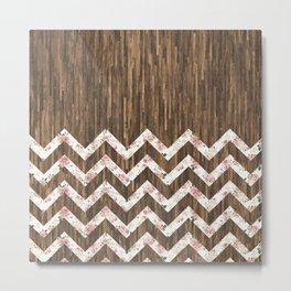 Vintage Preppy Floral Chevron Pattern Brown Wood Metal Print