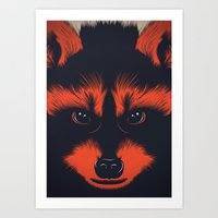 raccoon Art Prints featuring raccoon by CranioDsgn
