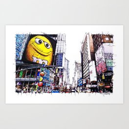 Manhattan Broadway city sketch Art Print