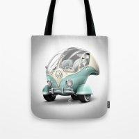 volkswagen Tote Bags featuring Volkswagen Bubble by Marcelo Schultz