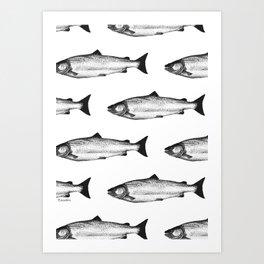 Shooting Fish on a Canvas Art Print