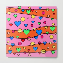 Floating Hearts and Circles - Pink Orange Metal Print
