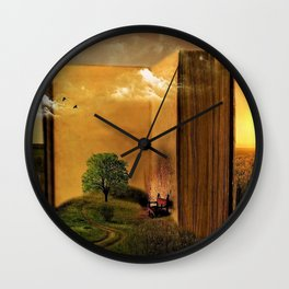 Surrealism Dream world with Book and Chair Wall Clock