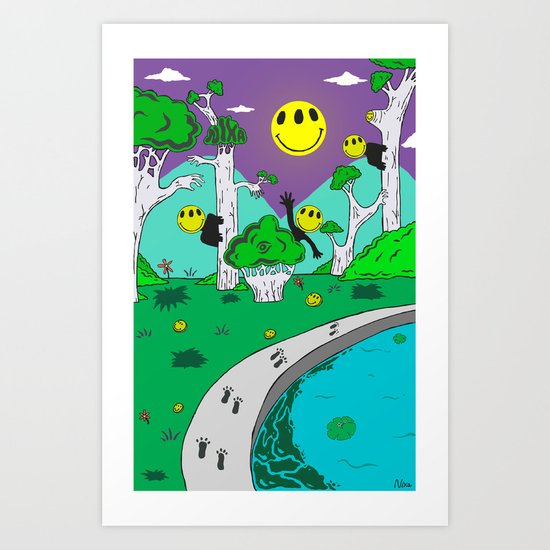 Day & Night Trippy Art Print