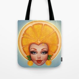 Orange fruit face Tote Bag