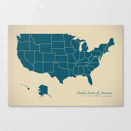 Modern Map - United States of America USA Canvas Print