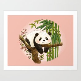 Panda under sunlight - Pink Art Print