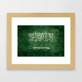 Flag of  Kingdom of Saudi Arabia - Vintage version Framed Art Print