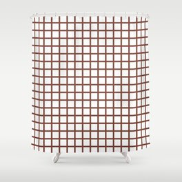 Grid (Maroon & White Pattern) Shower Curtain